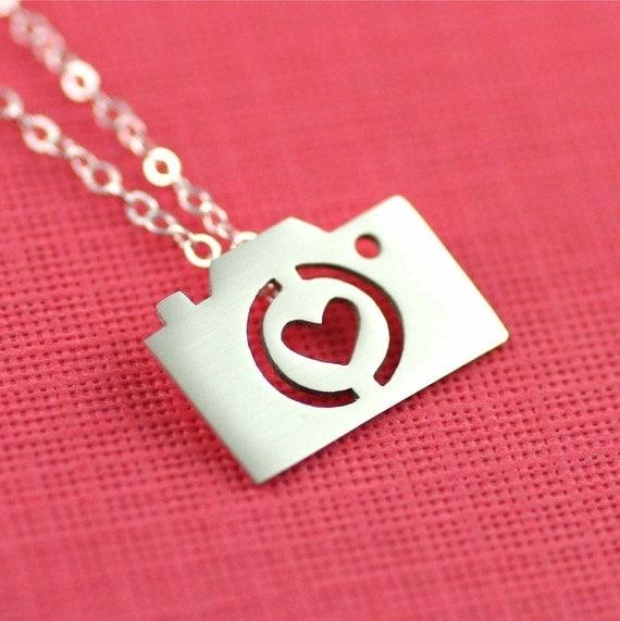 Camera Love Silhouette Necklace in Silver