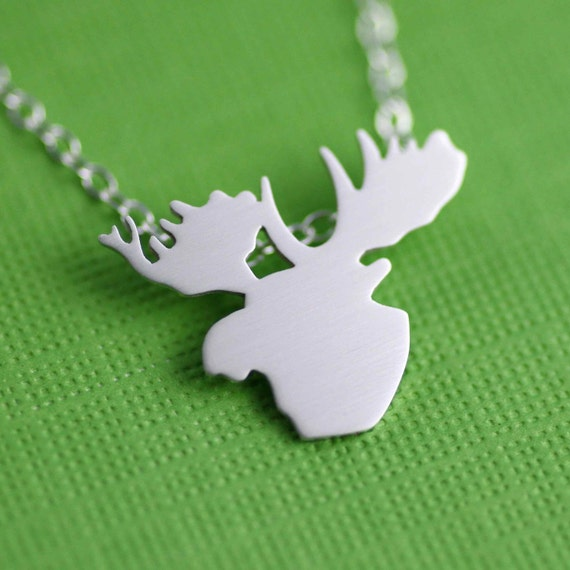 Moose Head Silhouette Necklace in Silver