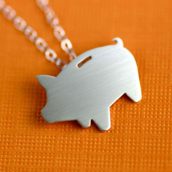 Porky Piggy Bank Silhouette Necklace in Silver