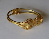 Bracelet Blanks (3)  - Hinged Gold with Lace Filigree RESERVED FOR Bonnie