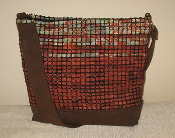 Copper and turquoise handwoven handbag
