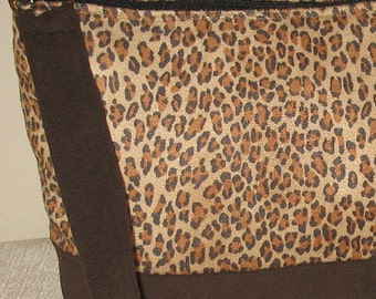 Brown leopard print ultrasuede purse