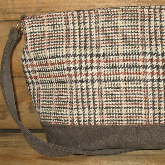 Loden and Gray Plaid vintage wool tweed handbag