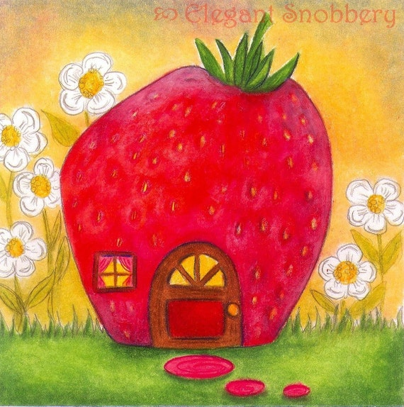 Little Strawberry House 10 x 10 Print