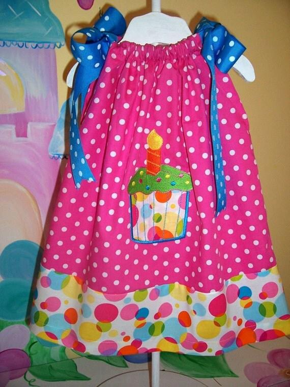 Custom Boutique 1st 2nd Birthday Cupcake Pillowcase Dress ADORABLE Applique