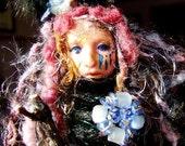 Fiber Clay Assemblage Spirit Art Doll-'Birds of Sorrow'