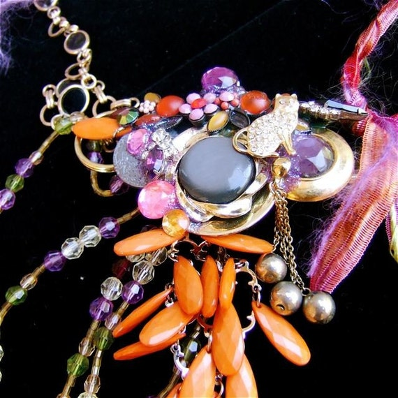 Eco Friendly Steampunk Assemblage Necklace-ON THE PROWL