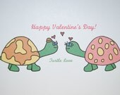 Hand Drawn TURTLE LOVE V-Day card