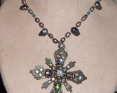 Maltese Cross Vintage Pendant and Peacock Freahwater Pearl Necklace