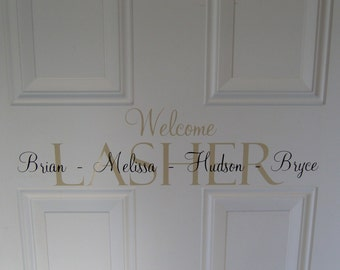 Welcome FAMILY name front door Vinyl LETTERING home decor