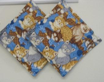 Kitten Print Potholders Set of 2