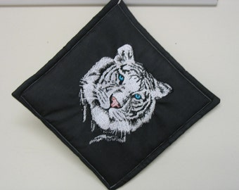 White Tiger Embroidered Pot Holder