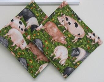 Pig Print Potholders Set of 2