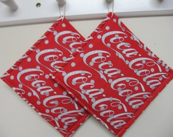 Coca Cola Print Potholders set of 2