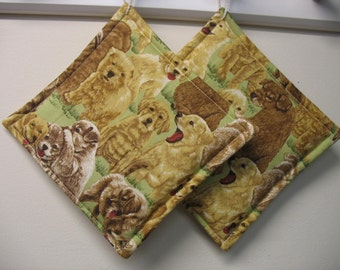 Puppy Print  Potholders Set of 2