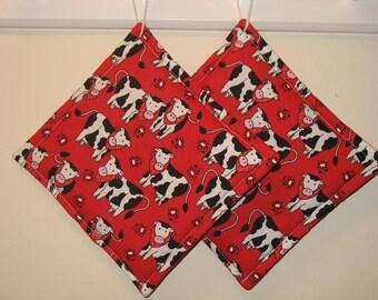 Cow Print Pot Holders Set of 2