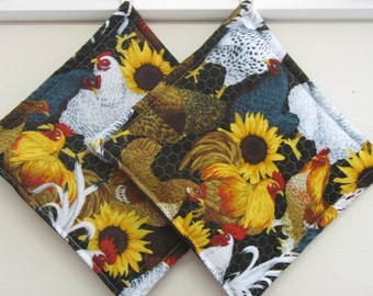 Chicken Yard and Sunflowers Pot Holders set of 2