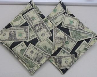 Money Print Pot Holders set of 2