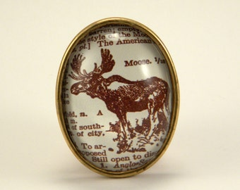 Chocolate Moose Brooch Vintage Dictionary Engraving