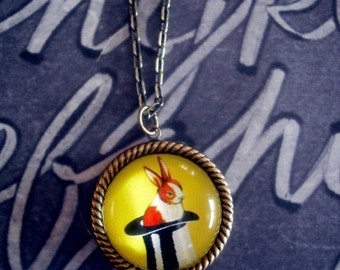 It's in the hat- vintage inspired rabbit in hat magic trick brass cameo pendant necklace