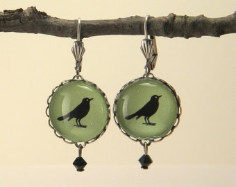 Green Rockin Robin Round Earrings