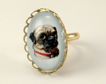 Lil Clyde the Handsome Pug Petite Ring