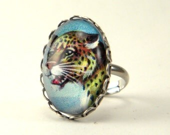 Def Leopard Silver Petite Ring Jungle Feline