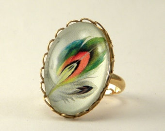 Ready To Take Flight Petite Ring Exotic Feather