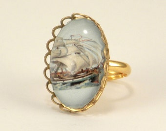 Smooth Sailing Clipper Ship Petite Ring