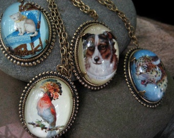On the Border vintage inspired brass border collie dog pendant necklace Cute Boho Retro