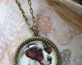 The littlest Fox Hound antique engraving pet lovers cameo necklace in brass Steampunk