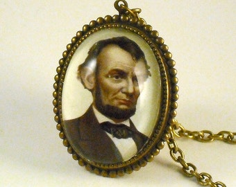 As Seen On TV - Abe Lincoln -  brass cameo pendant necklace  boho steampunk