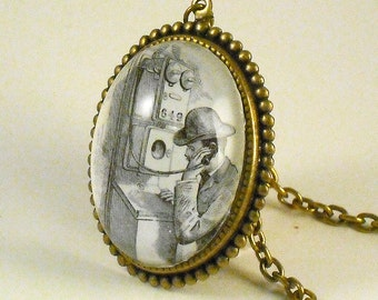 Hello Operator vintage inspired Victorian phone dome cameo pendant necklace Steampunk Boho altered art