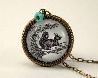 Squirrel vs Tree vintage inspired victorian specimen engraving brass pendant flower charm necklace Boho Steampunk Spring