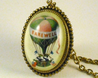 Farewell vintage inspired hot air balloon brass cameo necklace victorian steampunk boho