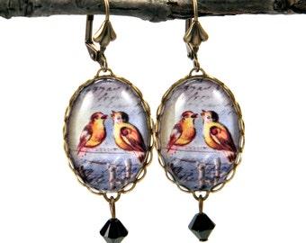Love Birds Earrings Feathered Friends Vintage Illustration