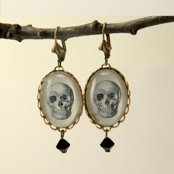 To Be Or Not To Be Brass Skull Earrings