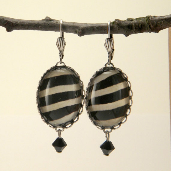 The White Stripes Silver Zebra Earrings Wlid Jungle Living
