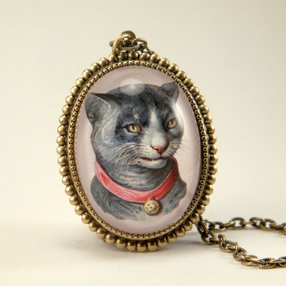 Fancy Feline antique pet cat Victorian animal engraving brass pendant necklace Victorian Steampunk