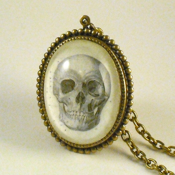To Be or Not to Be- vintage inspired skull medical engraving cameo necklace