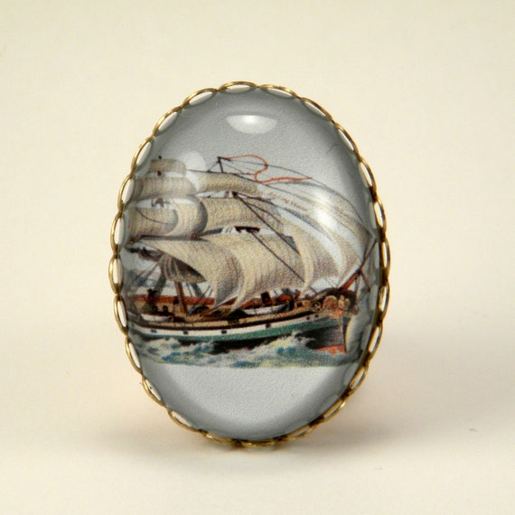 Smooth Sailing vintage inspired clipper ship engraving cameo Cocktail Ring