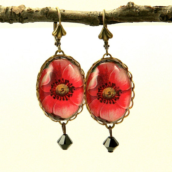 Spring Flourish Red Poppy Earrings Make it Your Spring Thing