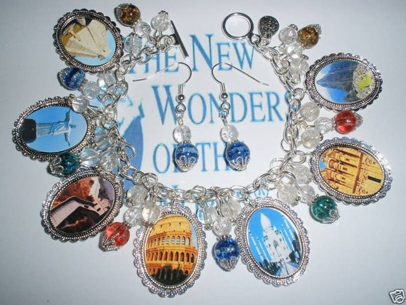 Seven Wonders of the World charm bracelet altered art jewelry