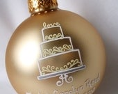 LOVE Cake Topper Wedding Ornament - Hand Painted and Personalized