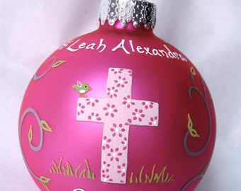 Baptism Ornament - Girl, hand painted and personalized