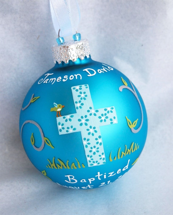 Baptism Ornament Personalized Christmas Ornament Christening: Baptism Ornament Boy Hand Painted And Personalized By SarEi