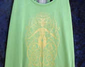 Fleur-Des-Lis on Leaf Green Bamboo Racerback Ladies Tank - Size L
