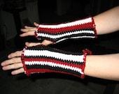 Red white and black Hand Warmers fingerless gloves  crochet OOAK