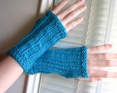 SUPER Soft Arm Warmers Fingerless Gloves Hand Knit Turquoise - Feel like Cashmere Ship worldwide