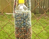 Water or Soda Bottle Cozy with shoulder strap blues and browns